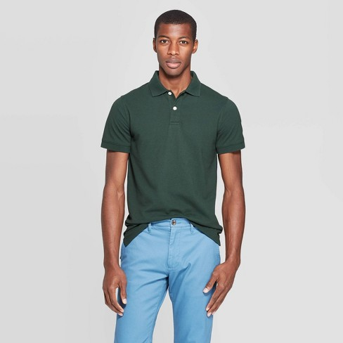 Men's Slim Fit Short Sleeve Pique Loring Collared Polo Shirt - Goodfellow & Co™ Forest Green S