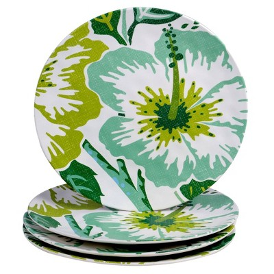 "11"" 4pk Melamine Tropicali Dinner Plates Green - Certified International"