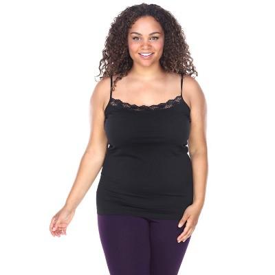 Women's Plus Size Lace Trim Tank Top - White Mark