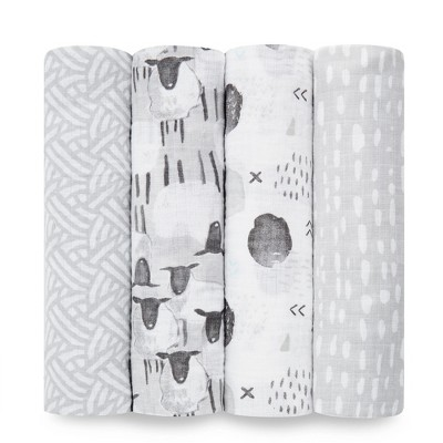 Aden by Aden + Anais Muslin Swaddles - Pasture Dark Gray 4pk