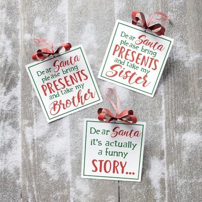 Lakeside Iron Dear Santa Silly Excuses Sentiments Christmas Tree Ornaments - Set of 3