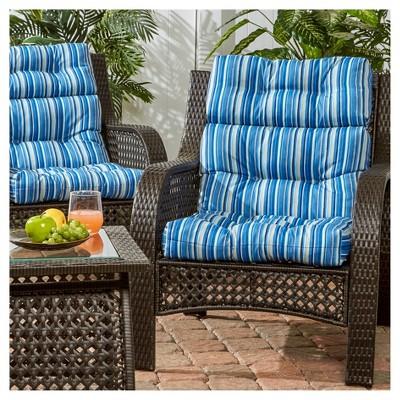 Nice Set Of 2 Outdoor High Back Chair Cushions   Coastal Stripe   Greendale Home  Fashions : Target