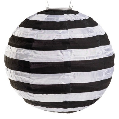 "Allsop 14"" x 14"" Soji Printed Solar Outdoor Lantern Black/White Stripe"
