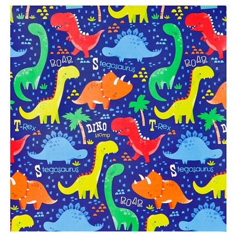 Gift Wrap Dinosaur Print Blue