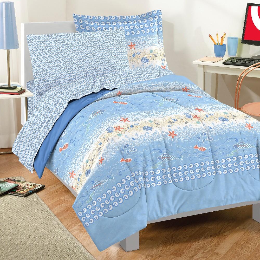 Dream Factory Beach Stripe Mini Bed in a Bag - Blue (Full)