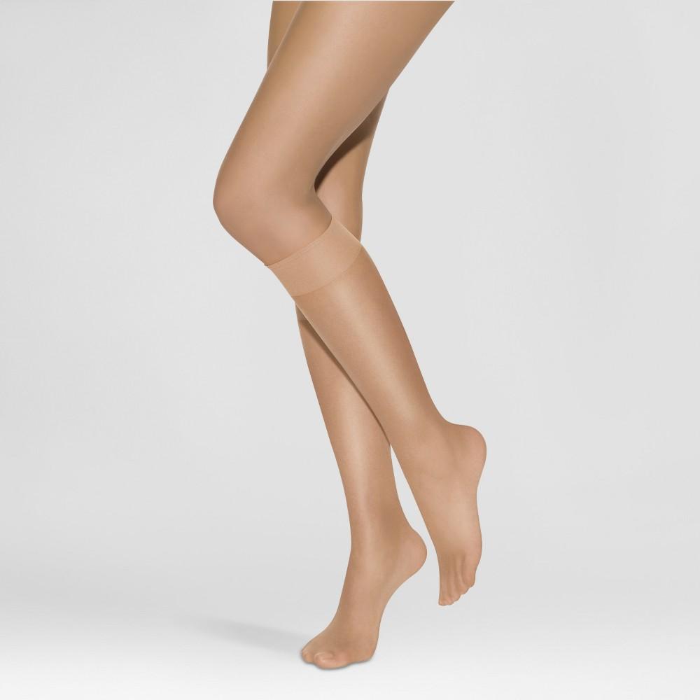 Image of Hanes Solutions Women's Sheer Basics 2pk Knee Highs - Beige S, Size: Small, Orange Beige