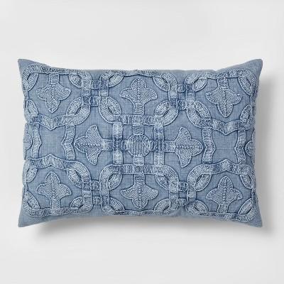 Stonewash Applique Lumbar Pillow Blue - Threshold™