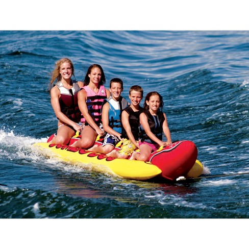 47d6101132a Airhead Hd-5 Jumbo Hot Dog 5 Person Rider Inflatable Towable Lake Boat Tube    Target