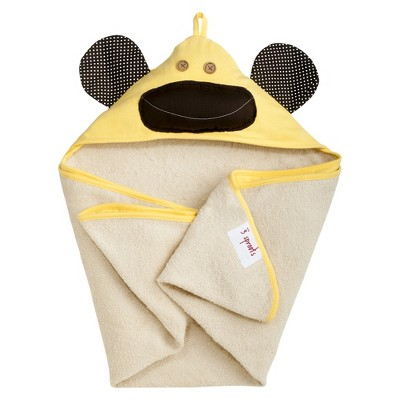 3 Sprouts Newborn/Infant Hooded Towel - Yellow Monkey