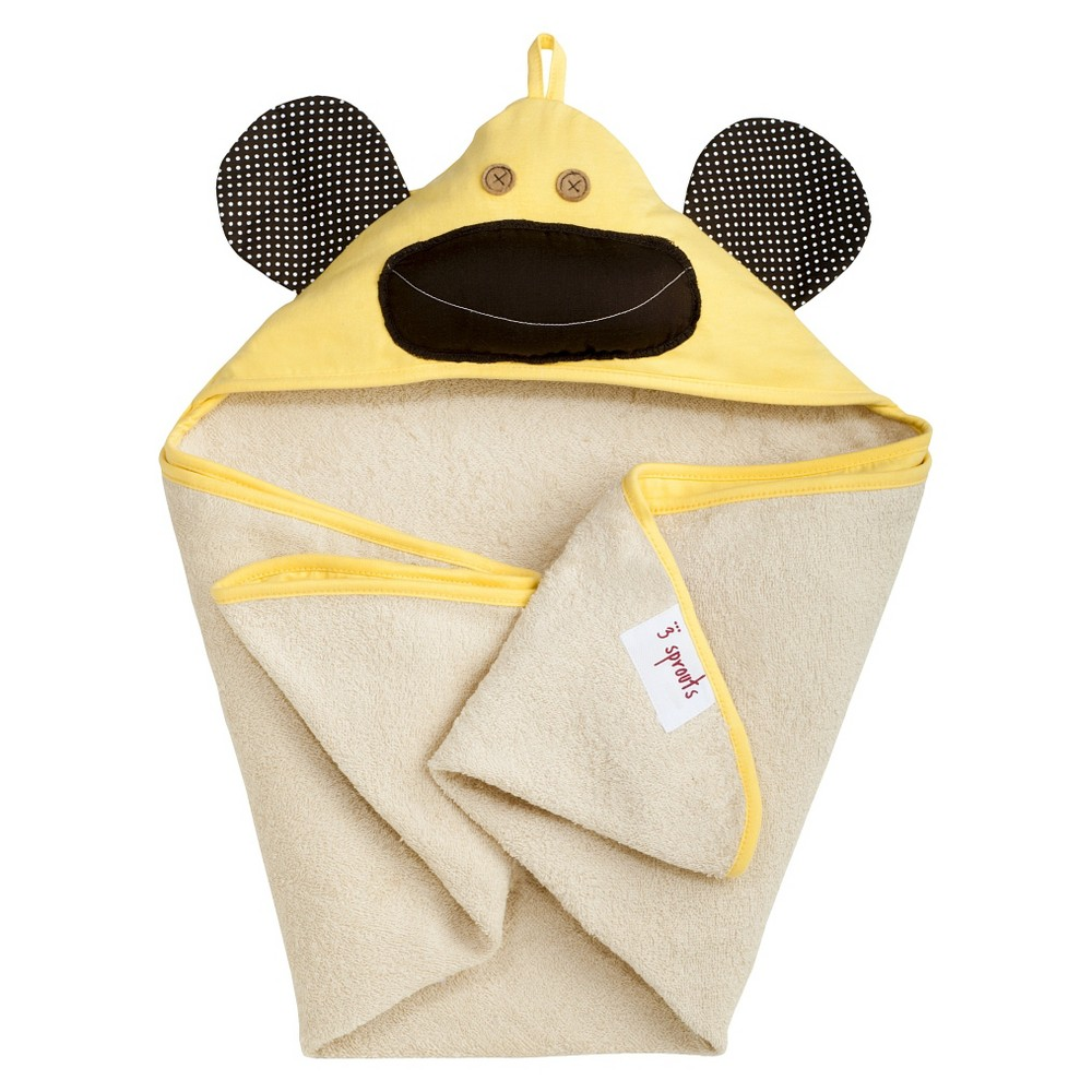 Image of 3 Sprouts Newborn/Infant Hooded Towel - Yellow Monkey