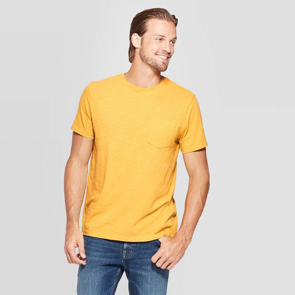Mens Standard Fit Slub Pocket Crew Neck T-Shirt - Goodfellow & Co Squash XL Compare