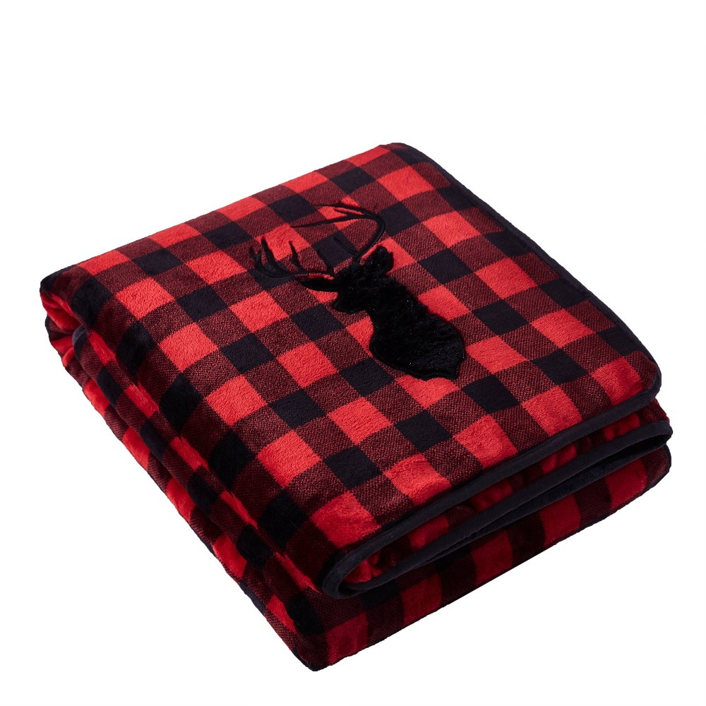 "Image of ""48"""" x 72"""" 15lbs Reversible Velvet Sherpa Weighted Bed Blanket Buffalo Plaid Deer - Rejuve, Red"""