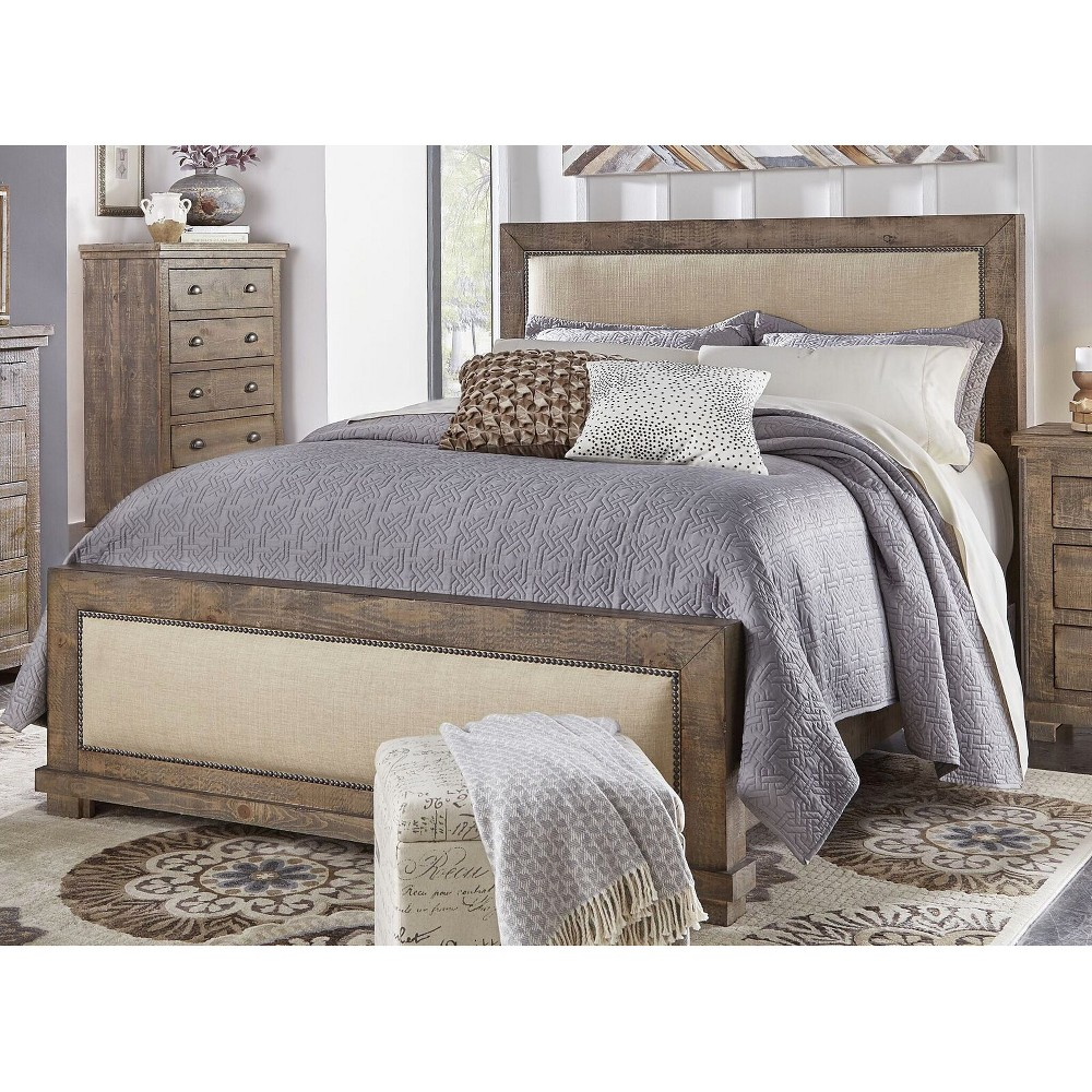 King Willow Upholstered Headboard Weathered Gray - Progressive