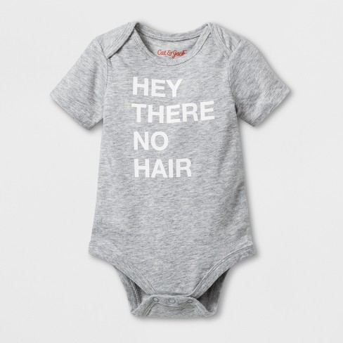 Baby 'No Hair' Graphic Bodysuit - Cat & Jack™ Heather Gray - image 1 of 2
