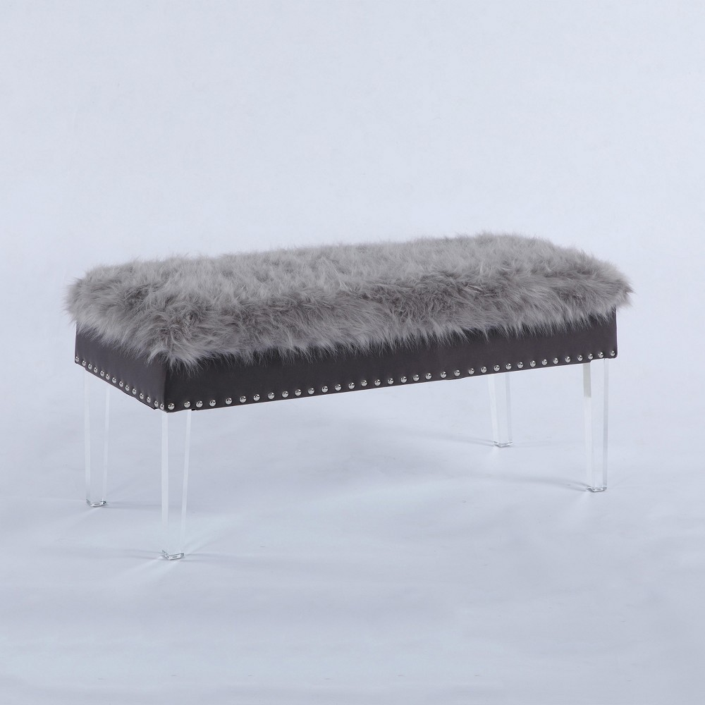 "Image of ""20"""" Horice Faux Fur Nailhead Storage Bench with Acrylic Legs Gray - Ore International"""
