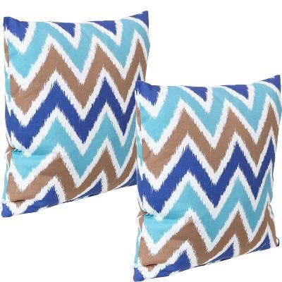 "17"" Square Decorative Outdoor Pillow - Set of 2 - Chevron Bliss - Sunnydaze Decor"