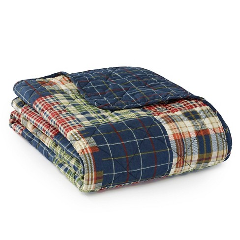 Madrona Plaid Throw Blanket Blue - Eddie Bauer - image 1 of 2
