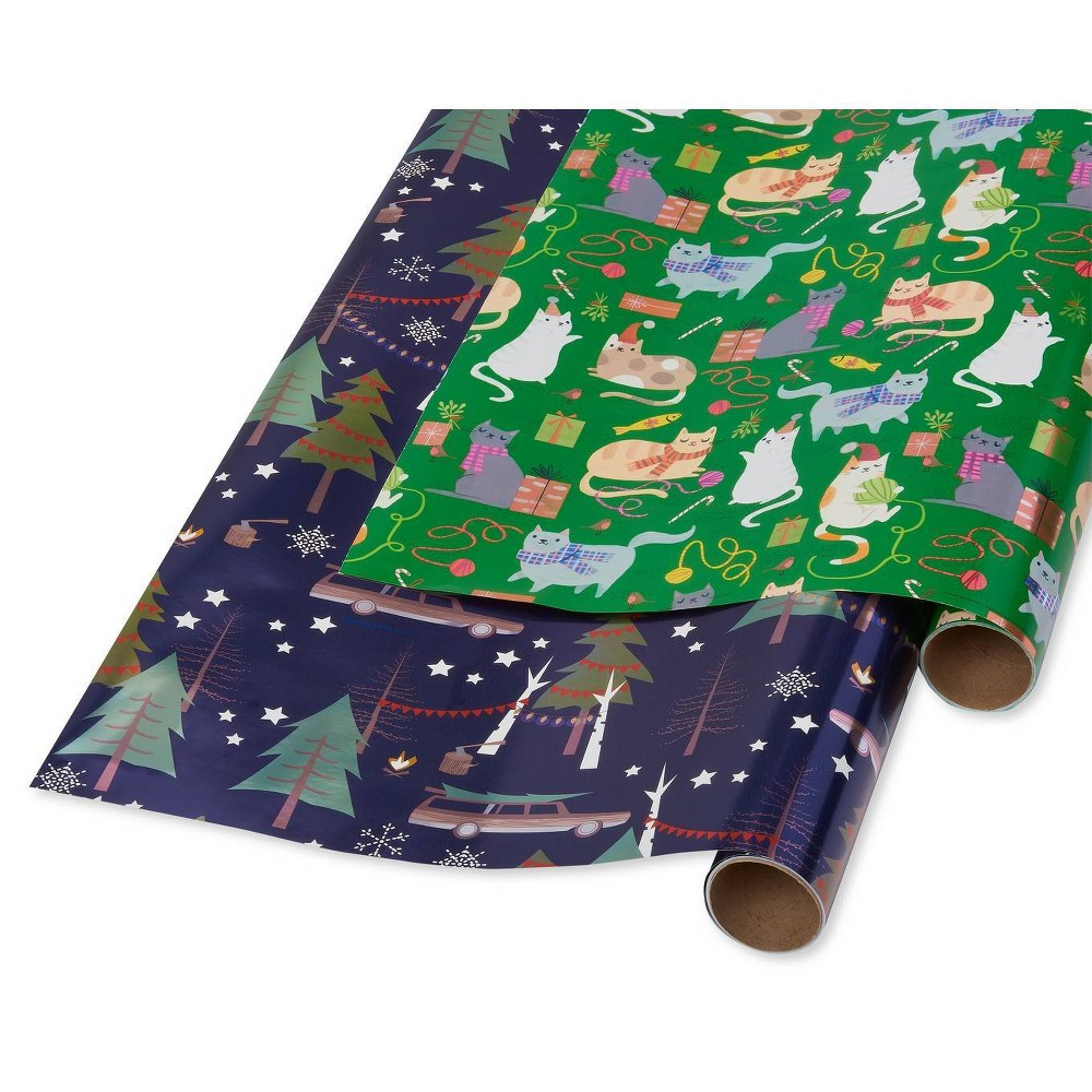 Image of 2ct Papyrus Playful Cats Cars and Trees Gift Wrap, Green