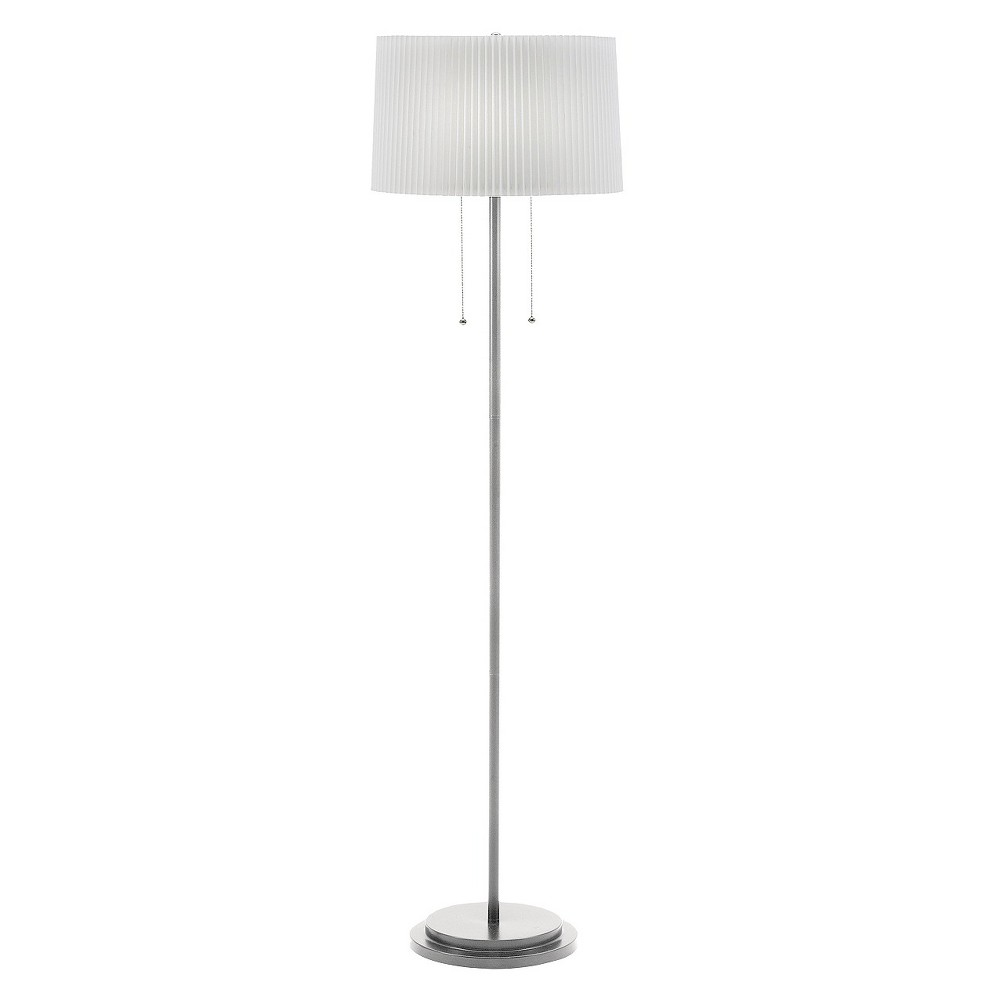 Metal Twin Light Floor Lamp with Knife Pleat Shade - 60H - Brushed, Silver
