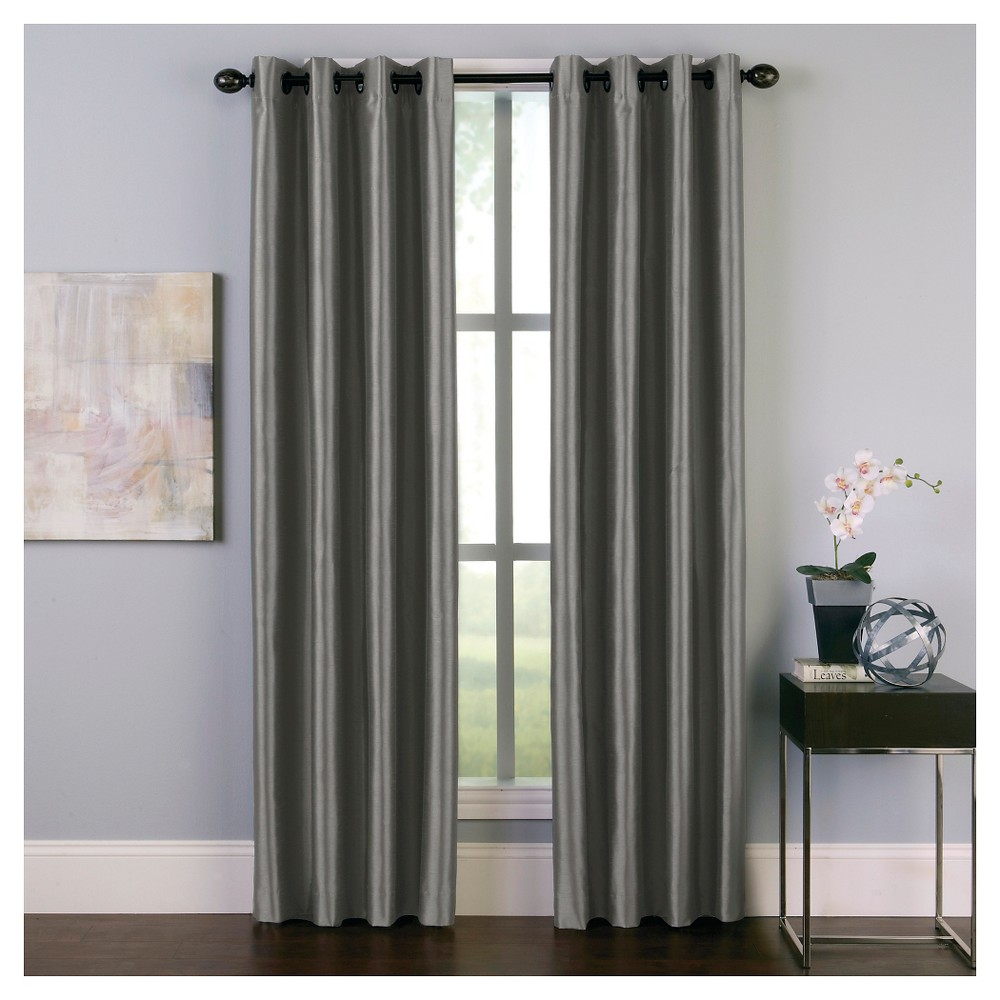 Curtainworks Malta Room Darkening Curtain Panel - Pewter (Silver) (144)