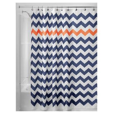Chevron Polyester Shower Curtain Navy/Orange - iDESIGN