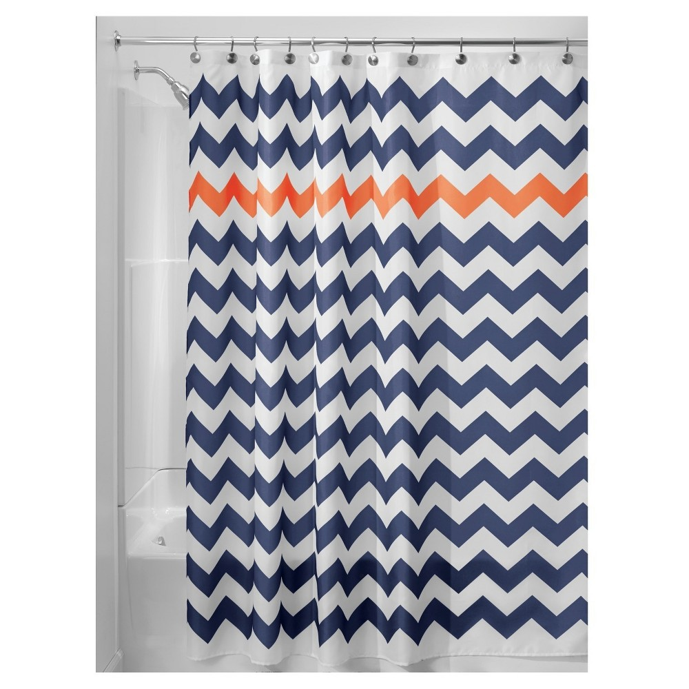 Shower Curtain Interdesign Chevron Navy Orange, Blue/Orange