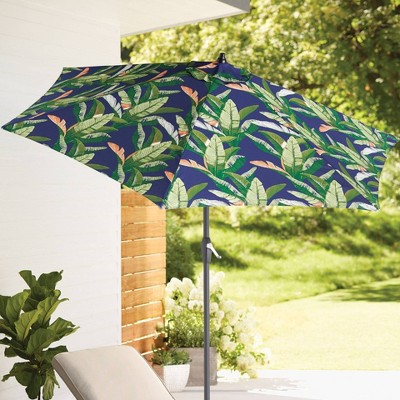 9' Patio Umbrella DuraSeason Fabric™ Banana Leaf - Black Pole - Threshold™