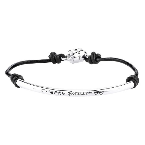 "Women's Silver Plated 'Friends Forever' Leather Cord Bracelet - Silver/Black (7.5"") - image 1 of 1"