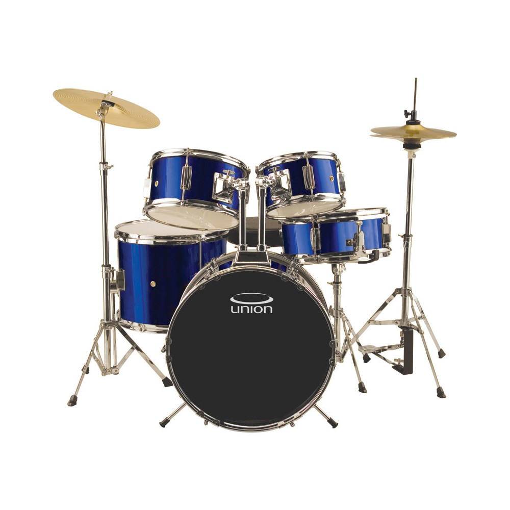 Union - UJ5 5pc Junior Drum Set with Hardware, Cymbals, and Throne - Dark Blue, Electric Blue