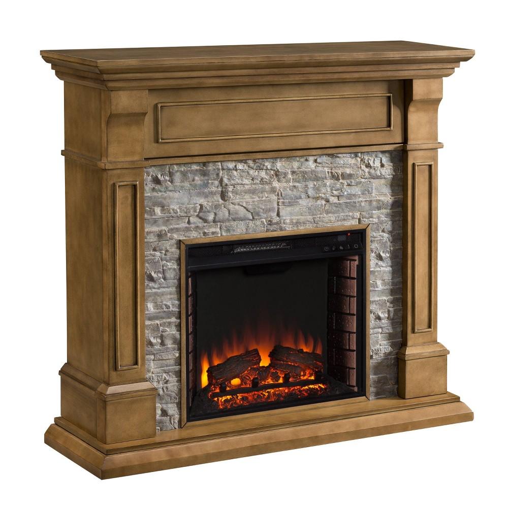 Jaylyn Faux Stone Media Fireplace Weathered Oak Gray - Aiden Lane