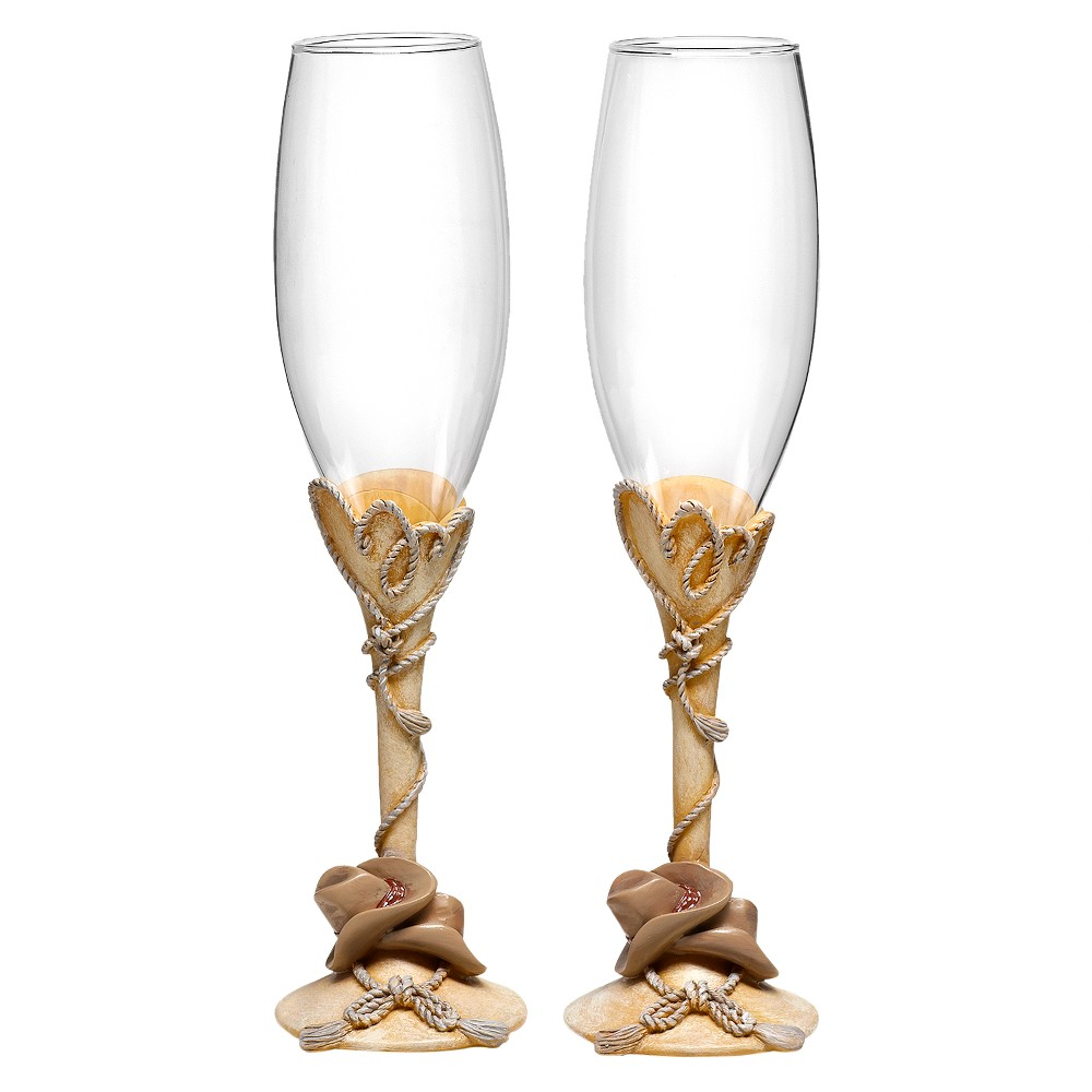 Image of Country Flair Wedding Champagne Flutes - Beige