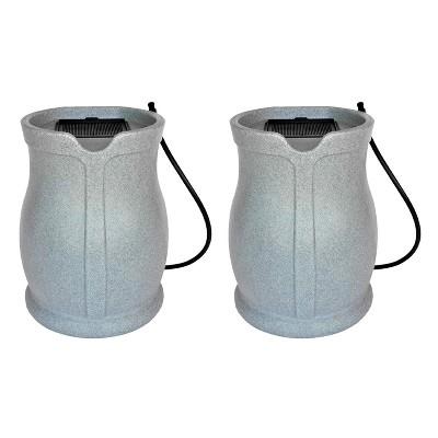 FCMP Outdoor RB-CAT-LTGRNT Water Irrigation 45 Gallons Catalina Rain Barrel, Light Granite (2 Pack)
