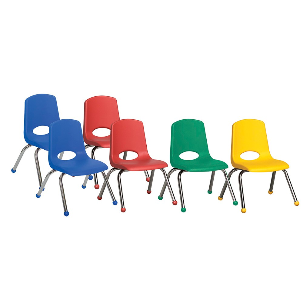 ECR4Kids Stack Chair 12 Chrome Legs Assorted Pack, Blue Green Red Yellow