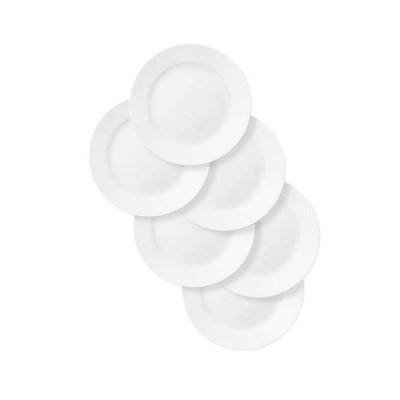 "Corelle 9"" 6pk Glass Rimmed Salad Plates White"
