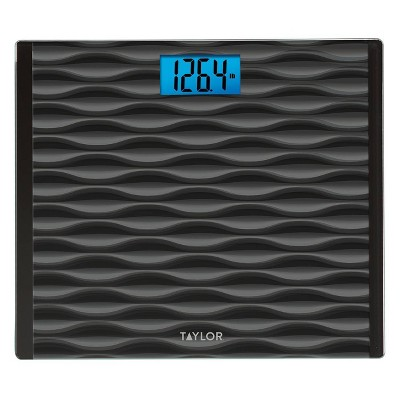 Glass Digital Scale with High Capacity and Wide Platform Wave Design Black/Gray - Taylor