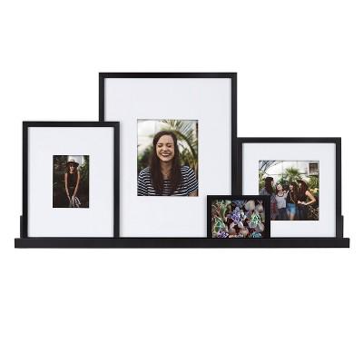 5pc Gallery Frame/Shelf Box Set Black - Kate & Laurel All Things Decor