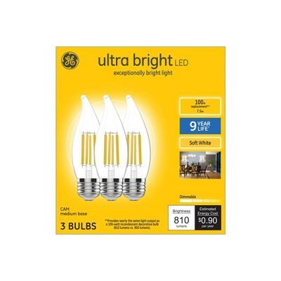 General Electric 3pk 100W CAM Decorative Ultra Bright LED Light Clear