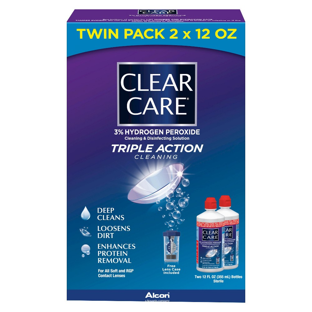 Clear Care Triple Action Cleaning And Disinfecting Solution Twin Pack 24 Fl Oz