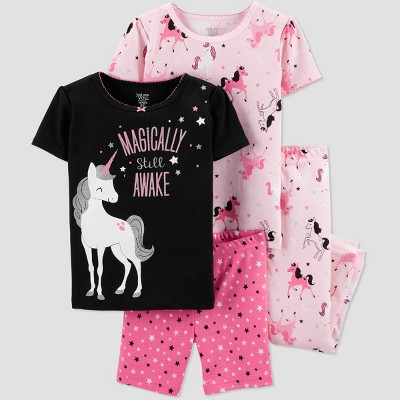 Baby Girls' 4pc Pink Unicorn Cotton Pajama Set - Just One You® made by carter's Black/Pink 12M
