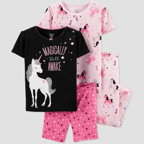 Baby Girls' 4pc Pink Unicorn Pajama Set - Just One You® made by carter's Black/Pink - image 1 of 1