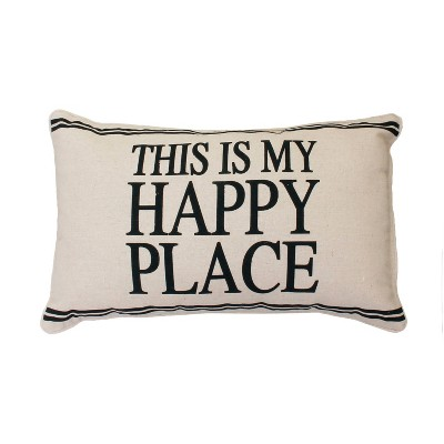 "Tricia ""This Is My Happy Place"" Lumbar Throw Pillow Beige - Décor Therapy"