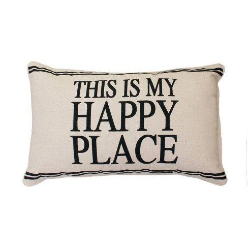Tricia This Is My Happy Place Lumbar Throw Pillow Beige - Dcor Therapy - image 1 of 3