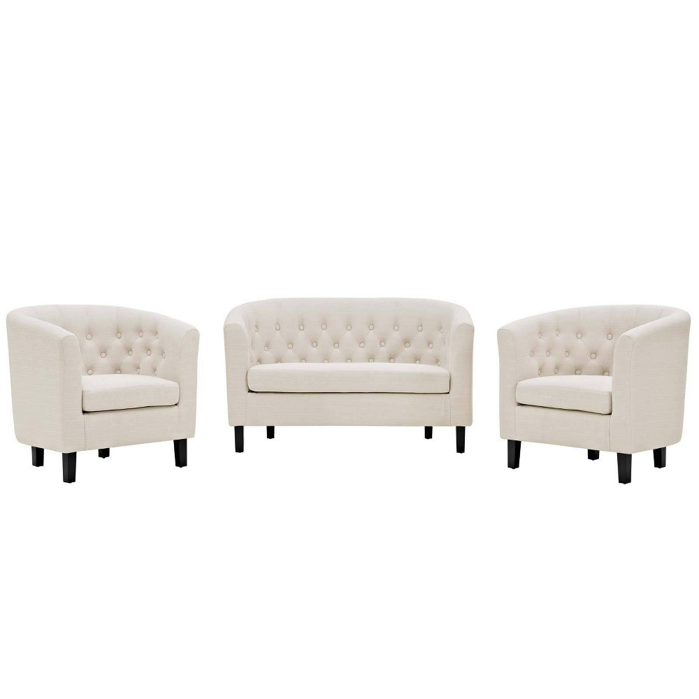 Image of 3pc Prospect Upholstered Fabric Loveseat & Armchair Set Beige - Modway