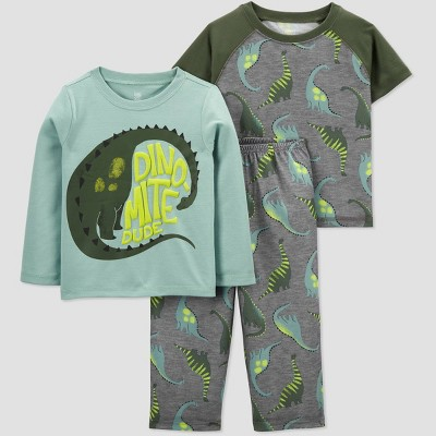 Toddler Boys' 3pc Dino Pajama Set - Just One You® made by carter's - Gray/Green