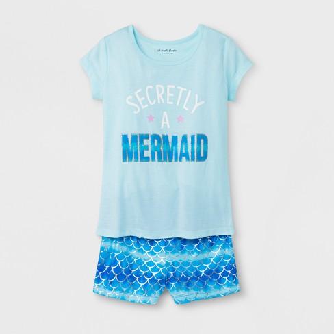 5f1704fe13 Planet Sleep Girls   Secretly A Mermaid  Graphic 2pc Pajama Set with Shorts  - Aqua Blue