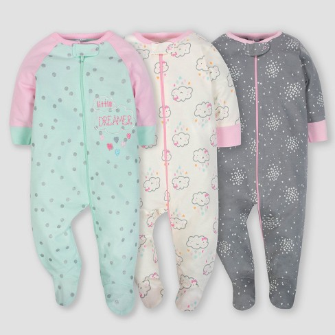 f6f1f229ea59 Gerber Baby Girls  3pk Sleep  N Play Clouds - Green Pink Gray 3-6M ...