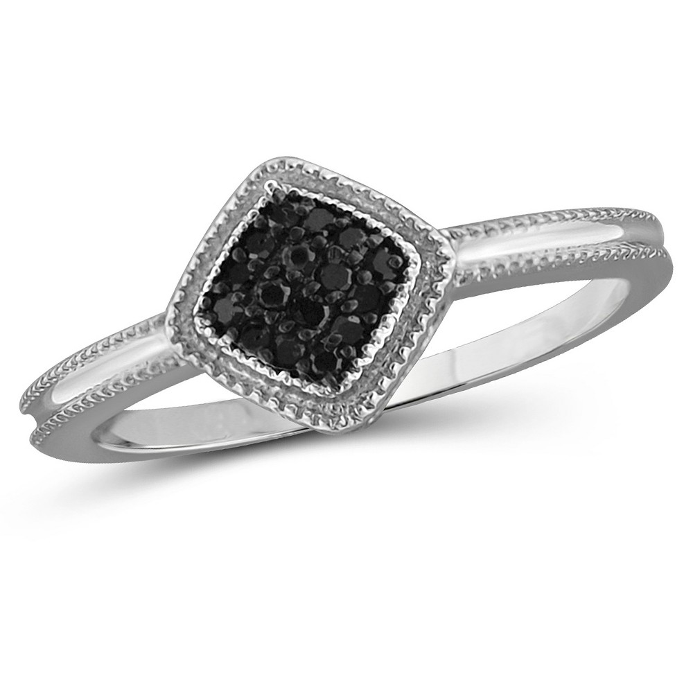 Image of 1/10 CT. T.W. Round-Cut Black Diamond Prong Set Ring in Sterling Silver - White (6), Women's