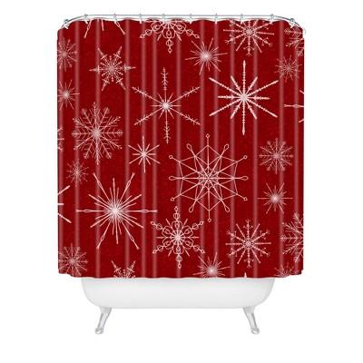 Jacqueline Maldonado Snowflakes Christmas Shower Curtain Red - Deny Designs
