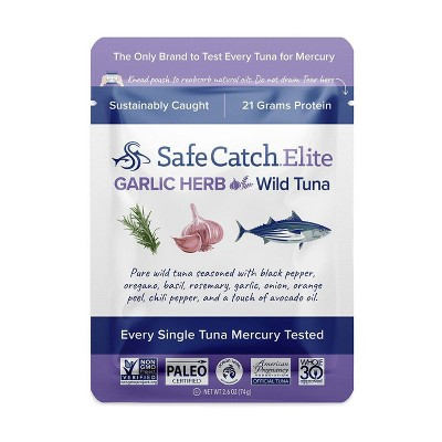 Safe Catch Tuna Wild Elite Garlic Herb Single Serve Pouch - 2.6oz