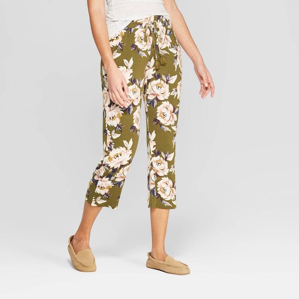 Women's Floral Print Beautifully Soft Crop Pajama Pants - Stars Above Green XS